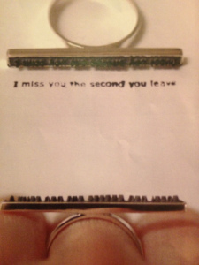 Colleen Baran 'I miss you' ring