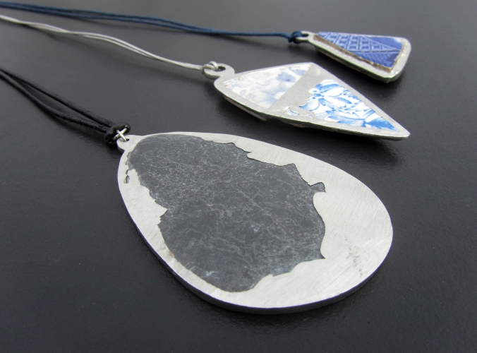 Found slate and pottery set in Pewter 2013. These pieces were entered and exhibited at 'Pewter Live 2013' The Worshipful Company of Pewterers