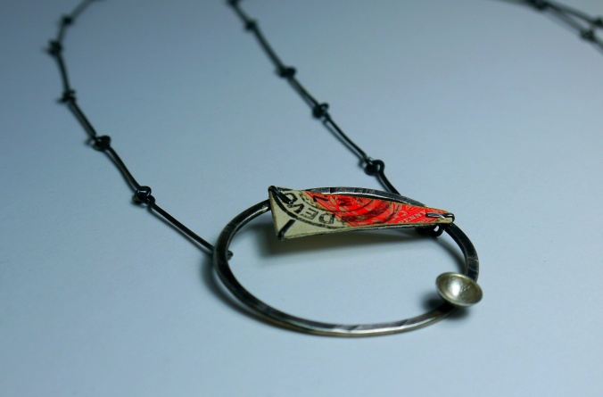 'Devon' long necklace. Oxidised Silver and 1900's postcard.