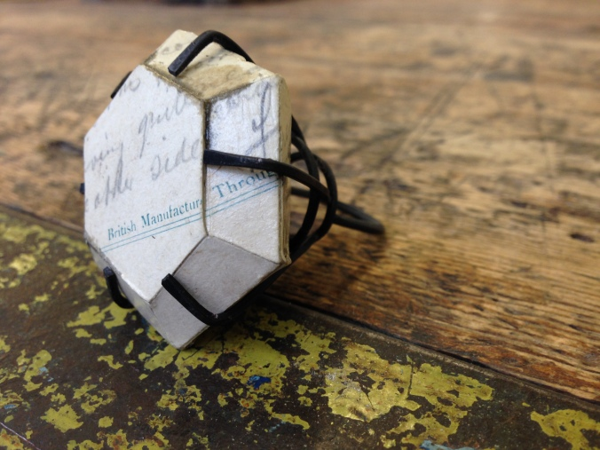 'British Manufactured Throughout' Ring 2014, Oxidised Copper and 1900's postcard. (prototype)